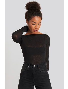 Boat Neck Ls Top Black by Na Kd Trend