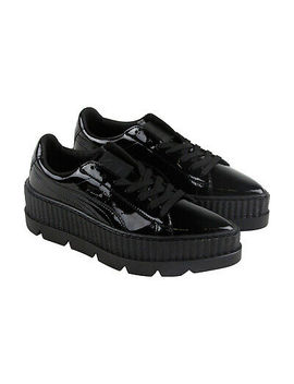 Puma Pointy Creeper Patent Wns Womens Black Casual Lace Up Sneakers Shoes by Puma