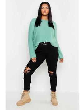 Plus Oversized Rib Cuff Soft Knit Sweater by Boohoo