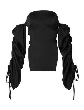 Afra Off The Shoulder Cutout Satin Top by Cult Gaia