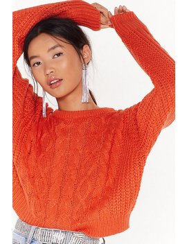Cable Talk Relaxed Knit Sweater by Nasty Gal