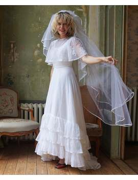 1970s White Gunne Sax Dusty Daze Maxi Dress / Vintage Lace Dress With Cape, Ruffles And Train / Wedding Gown / Size S by Etsy