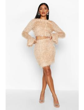 Feather Knit Crop Flare Co Ord Set by Boohoo