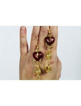 Long Red Heart Earrings Baroque Style  Filigrees Earrings  Dolce Style  Vintage Style  Filigrees Ear Cross Earrings   Clip On Earrings by Etsy