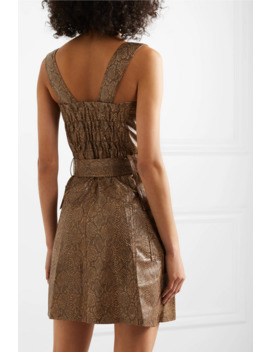 Lorena Belted Snake Effect Vegan Leather Mini Dress by Nanushka
