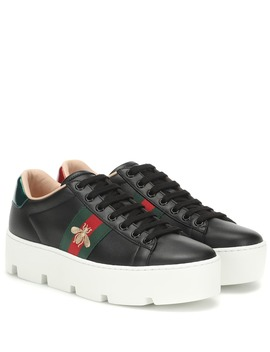 Ace Leather Platform Sneakers by Gucci