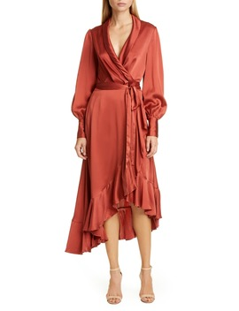 Espionage Long Sleeve Silk Wrap Dress by Zimmermann