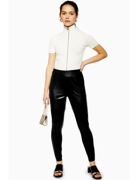 Petite Faux Leather Skinny Trousers by Topshop