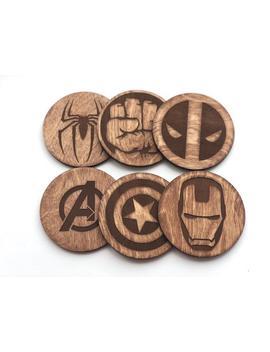 Marvel Coasters, Marvel Gifts, Avengers Coasters, Spiderman, Hulk, Deadpool, Avengers, Capitan America, Ironman by Etsy
