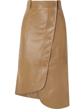 Asymmetric Leather Wrap Skirt by Ganni