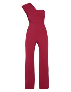 Petite Burgundy Drape One Shoulder Jumpsuit by Prettylittlething