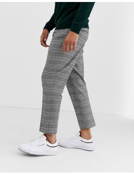 New Look Slim Smart Pants In Gray Check by New Look