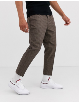New Look Slim Smart Pants In Brown Check by New Look