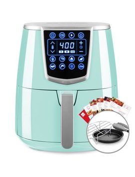 Best Choice Products 4.2qt 8 In 1 Digital Air Fryer Cooking Appliance With 8 Presets, Touch Screen Display, Adjustable Temp, Timer, Non Stick Basket, Multifunctional Rack, Tongs, Recipes, Seafoam Blue by Best Choice Products