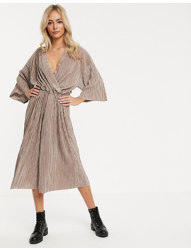 Another Reason Relaxed Wrap Front Jumpsuit With Toggle Tie In Crinkle Fabric by Another Reason