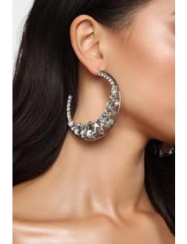 Past And Crescent Hoop Earrings   Silver by Fashion Nova