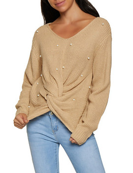 Twist Front Faux Pearl Studded Sweater by Rainbow