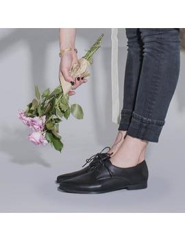 Black Leather Shoes, Classic Oxfords, Women Oxfords, Comfortable Shoes, Lace Up Shoes, Black Dress Shoes, Black Formal Shoes, Women Flats by Etsy