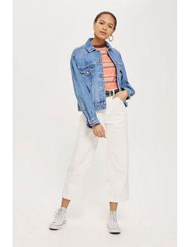 Weiße, Verkürzte Jeans Mit Weitem Beinschnitt Tall Größe by Topshop