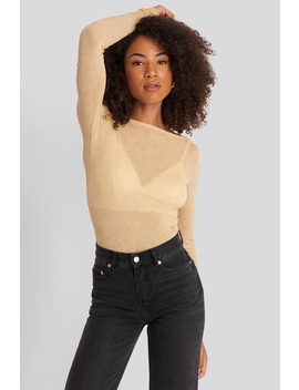 Boat Neck Ls Top Beige by Na Kd Trend
