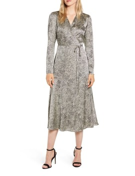 Cheetah Print Long Sleeve Satin Wrap Dress by Rachel Parcell