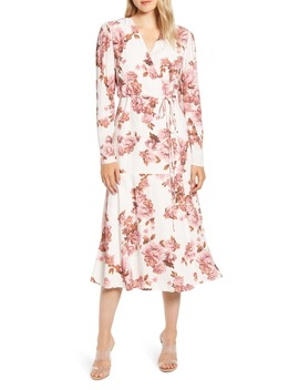 Rachel Parcel Long Sleeve Wrap Midi Dress by Rachel Parcell