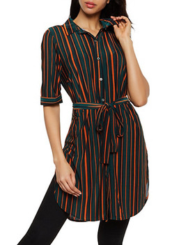 Striped Tie Waist Tunic Shirt by Rainbow