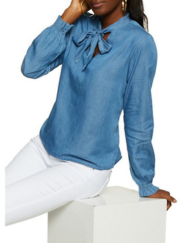 Highway Tie Neck Chambray Top by Rainbow