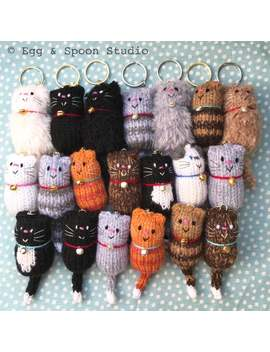 Cat   Fat Cat Hand Knitted Keyring, Keychain, Keyfob, Bag Charm, Cat Lover Gift by Etsy