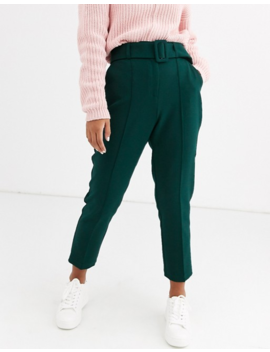 Asos Design Petite High Waist Cigarette Trousers With Belt by Asos Design