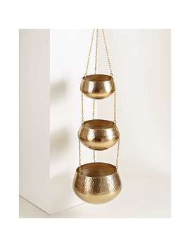 Three Tier Gold Metal Hanging Planter by Olivar Bonas