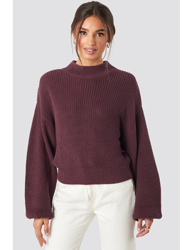 Volume Sleeve High Neck Knitted Sweater Red by Na Kd