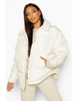 Faux Fur Collared Puffer Jacket by Boohoo