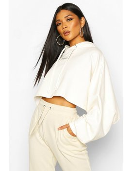 Premium Tokyo Micro Slogan Embroidered Boxy Cropped Hoodie by Boohoo