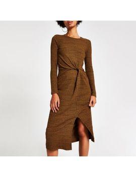 Rust Brown Twist Front Midi Dress by River Island