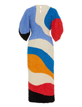 Freya Colorblocked Textured Midi Dress by Mara Hoffman