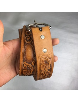 Looper Floral Tooled Leather Belt Preowned/Used by Looper