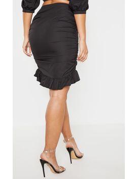 Black Ruched Detail Frill Hem Skirt by Prettylittlething
