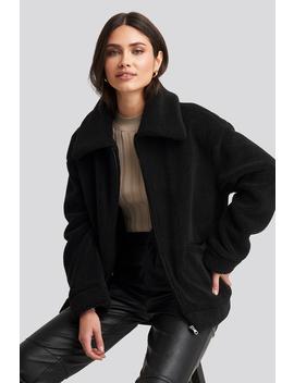 Teddy Zipper Jacket Black by Na Kd