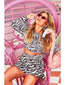 Ruffle Front Zebra Print Mini Skirt by Boohoo