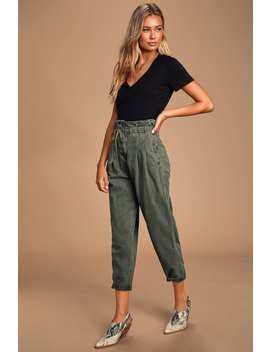 Margate Olive Green Paperbag Waist Pleated Trouser Pants by Free People