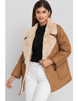 Faux Suede Fur Bonded Jacket Brun by Na Kd Trend