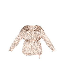 Plus Cream Leopard Print Tie Waist Blouse  by Prettylittlething