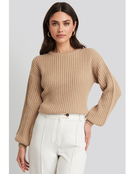 Wool Blend Ribbed Knitted Sweater Beige by Na Kd