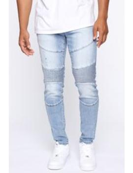 Camshaft Moto Jeans   Light Wash by Fashion Nova