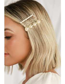 Keiko Gold And Pearl Hair Pin Set by Petit Moments