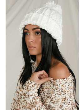 Warm Feelings White Chunky Knit Pom Pom Beanie by Lulus