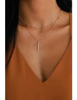 Abbigail Rose Gold Cross Charm Choker Necklace by Lulus X Luvaj