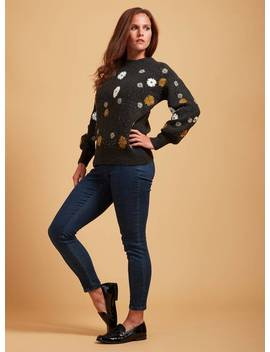 Premium Charcoal Grey Floral Embroidered Jumper   12tuc135668420 by Argos