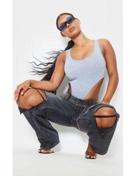 Grey Scoop Neck High Leg Bodysuit  by Prettylittlething